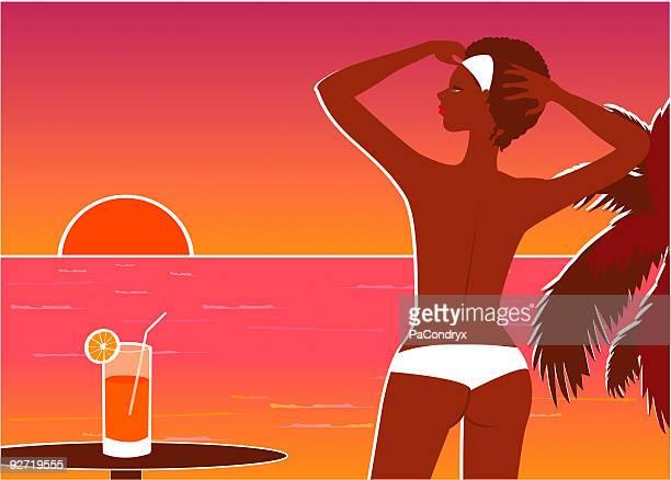 ilustraciones, imágenes clip art, dibujos animados e iconos de stock de retro de la playa al atardecer - tanga