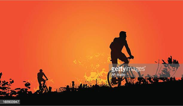 sunset bikers - motorcycle rider stock illustrations, clip art, cartoons, & icons