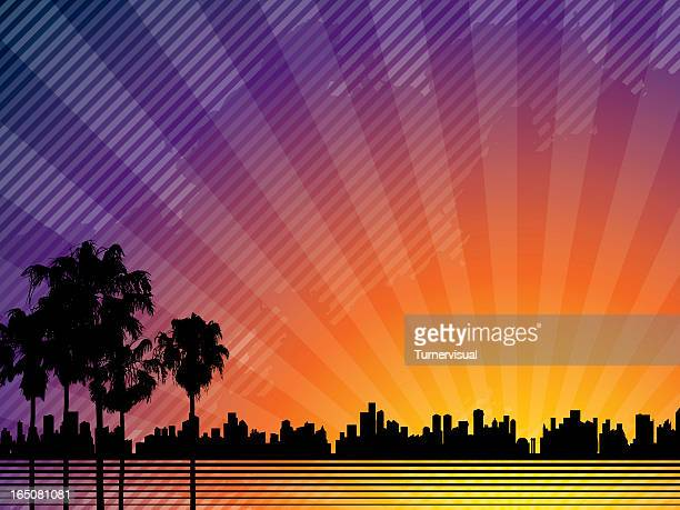 sunset city background - hollywood california stock illustrations