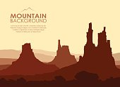 Sunset in huge Mountains. Vector illustration.