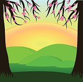 sunset in the forest. view behind the trees. flat design.