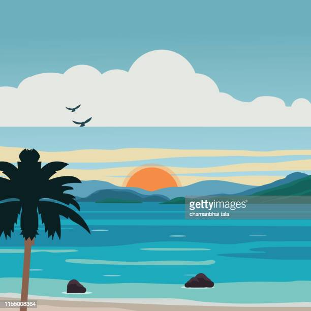 sunset island - seascape stock illustrations