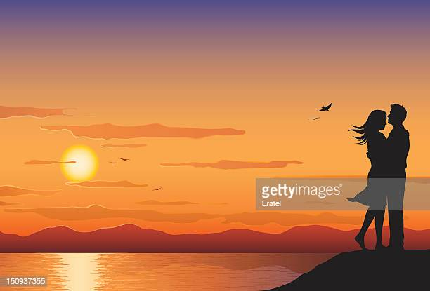 sunset lovers - flirting stock illustrations, clip art, cartoons, & icons