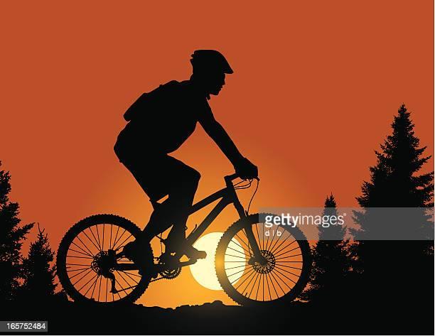 ilustraciones, imágenes clip art, dibujos animados e iconos de stock de paseo en bicicleta de montaña al atardecer en el ridge - mountain bike