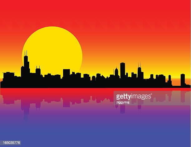 sunset on chicago skyline - chicago loop stock illustrations, clip art, cartoons, & icons
