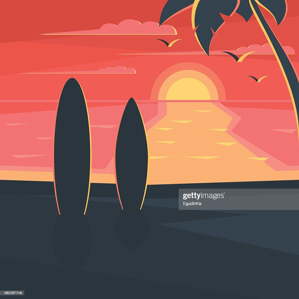 Sunset on the beach with surf