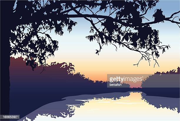 sunset on the river - water's edge stock illustrations