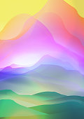 Sunset or Dawn Over Silk Mountains Landscape - Vector Illustration