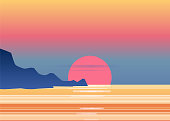 Sunset osean, sea, landscape with mountains and sun, evening. Panorama of mountains, on sunset, dusk, vector, isolated