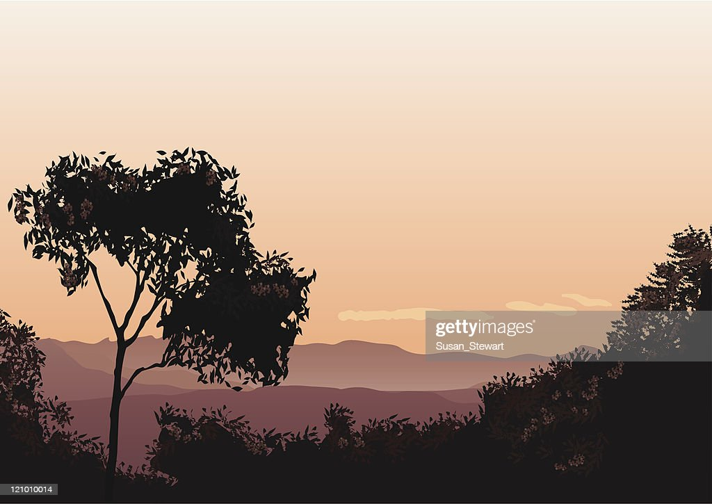 Sunset over The Lost World : Stock Illustration