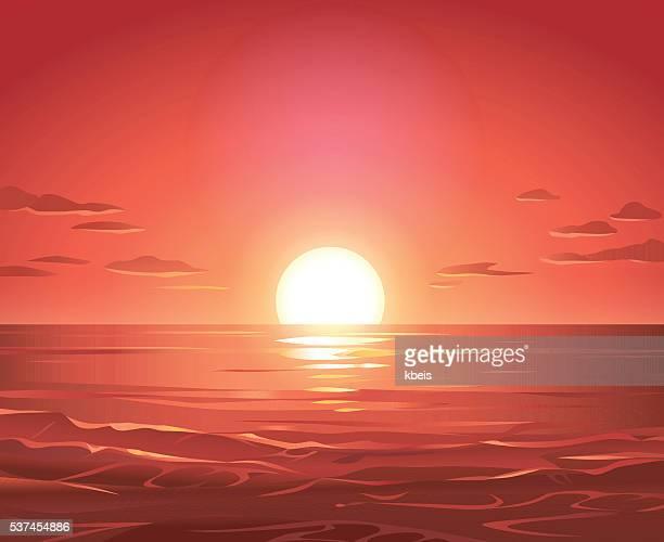 ilustraciones, imágenes clip art, dibujos animados e iconos de stock de puesta de sol sobre el mar - puesta de sol