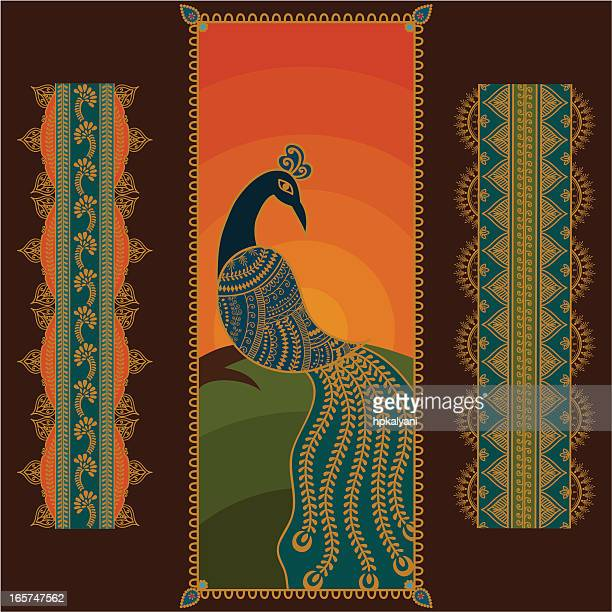 sunset peacock - peahen stock illustrations