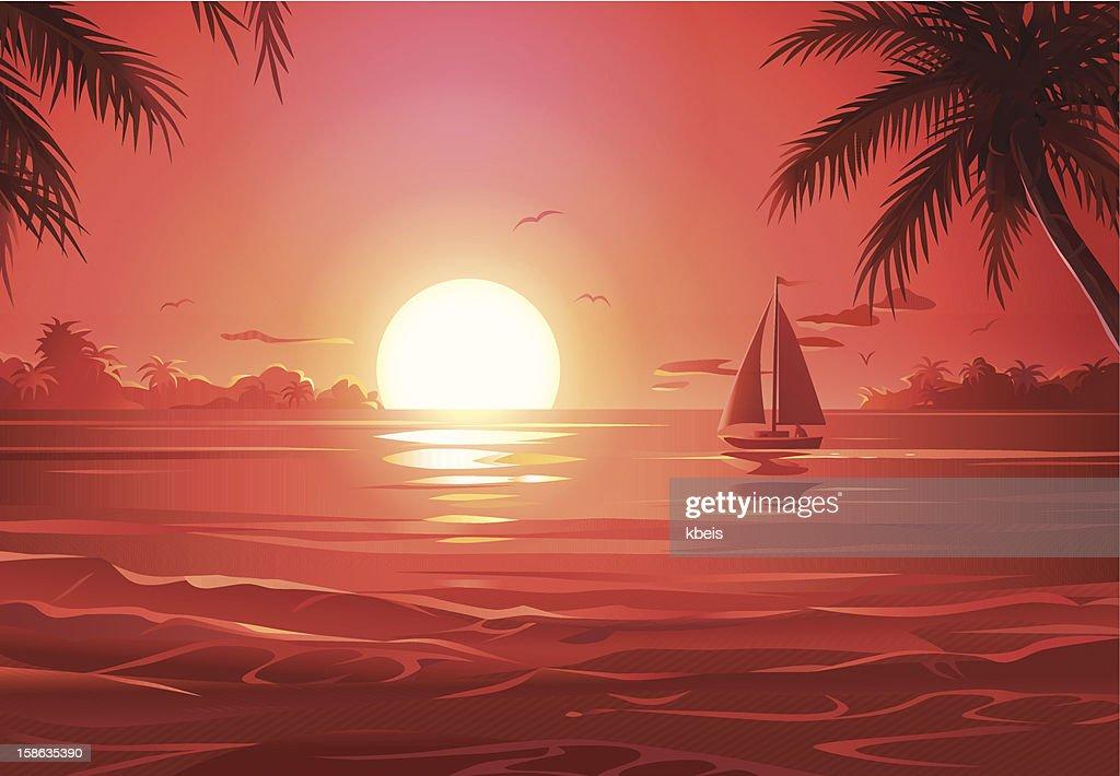 Segelfahrt bei Sonnenuntergang : Stock-Illustration