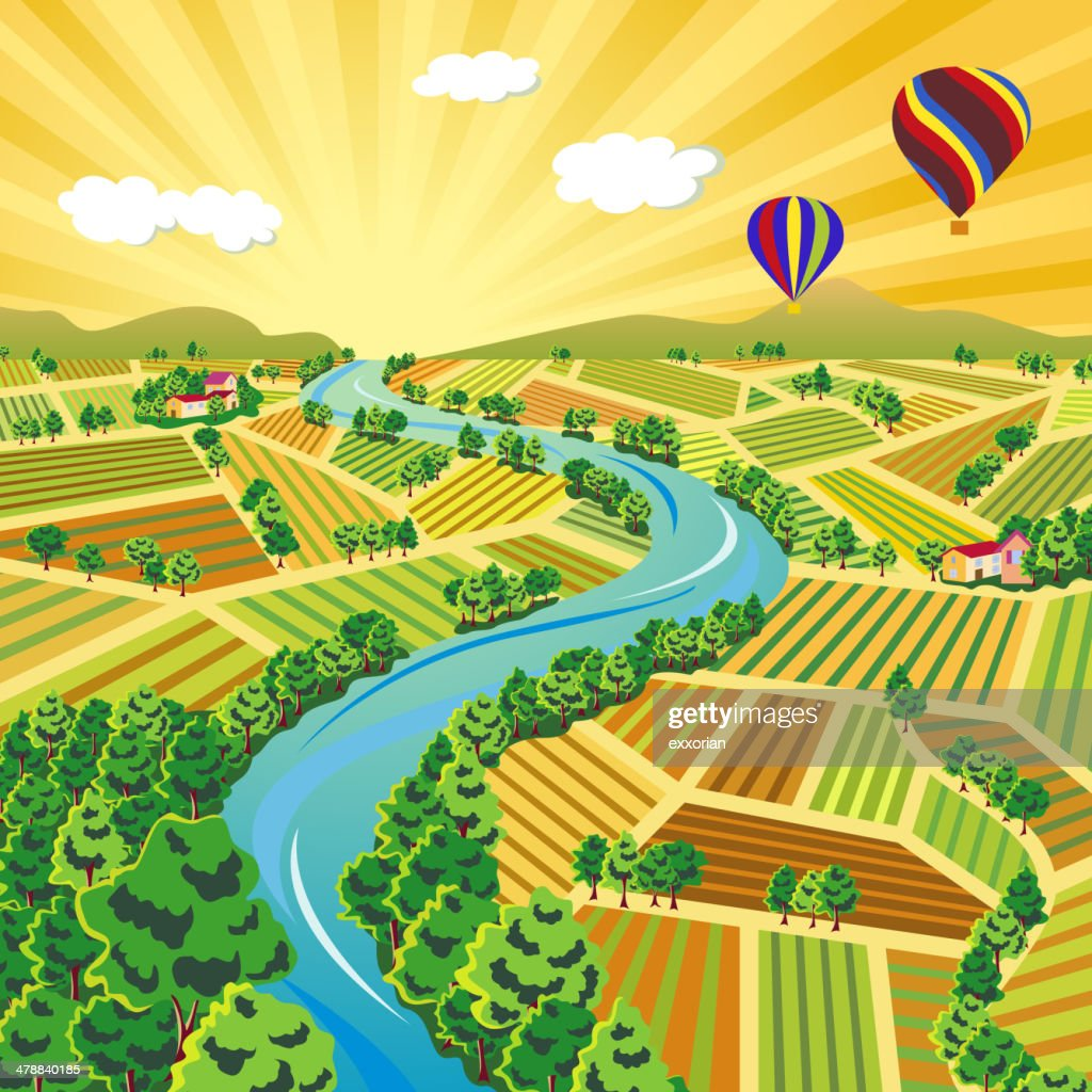Sunset Scene in Autumn Farmland : stock illustration