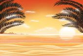 sunset scene on sea sand beach with coconut tree leaf