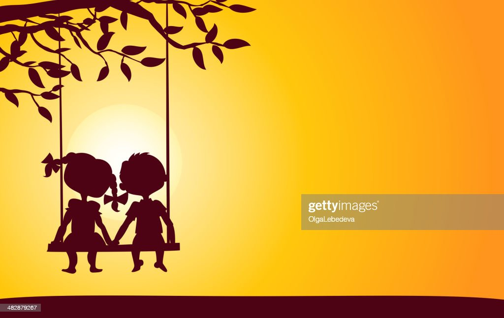 Sunset silhouettes of boy and girl