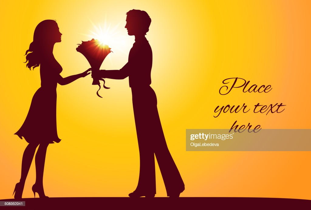 Sunset silhouettes of man and woman