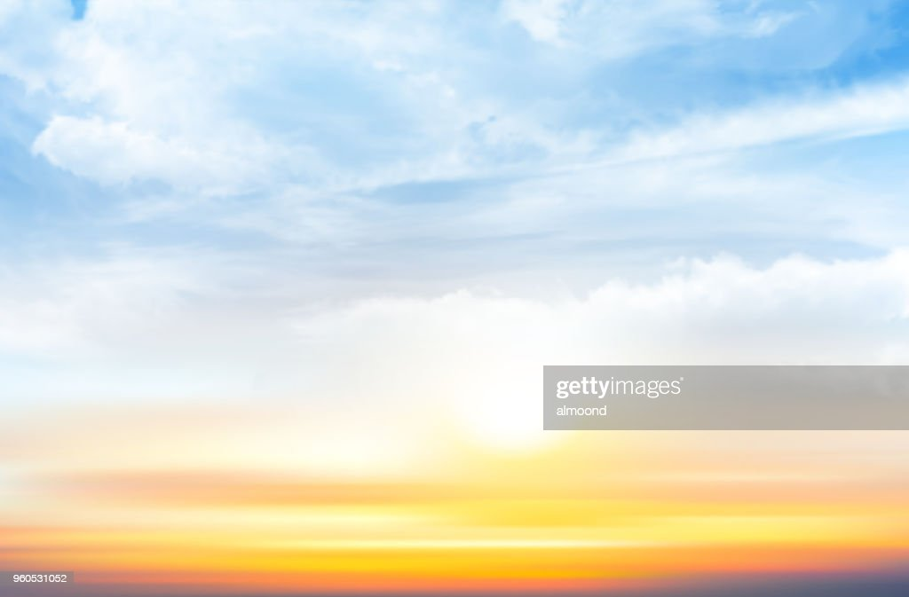 Sunset sky background with transparent clouds. Vector illustration