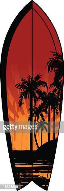 sunset surfboard - surfboard stock illustrations