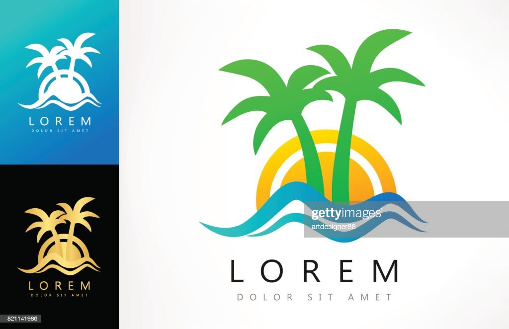Sunset symbol. Tropical palm with wave.