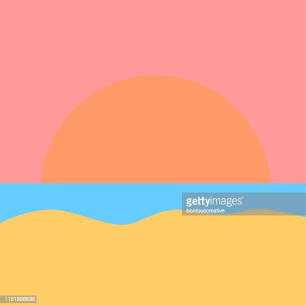 illustrazioni stock, clip art, cartoni animati e icone di tendenza di vista al tramonto - isola