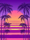 sunset with palm trees, trendy purple background.