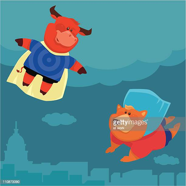 super bull vs bear - wild cattle stock illustrations, clip art, cartoons, & icons