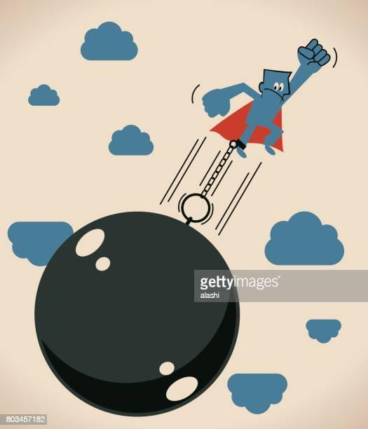 ilustraciones, imágenes clip art, dibujos animados e iconos de stock de super empresario (hombre, héroe) encerrados en una bola de hierro grande y cadena está volando - bola de hierro y cadena
