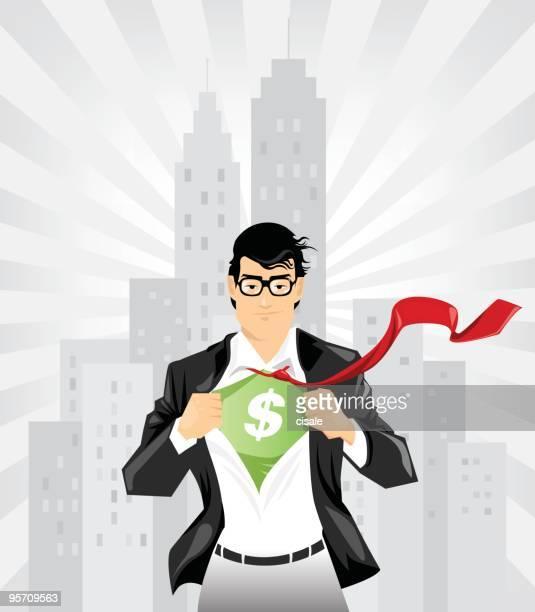 super businessman with dollar sign undershirt - superman stock illustrations