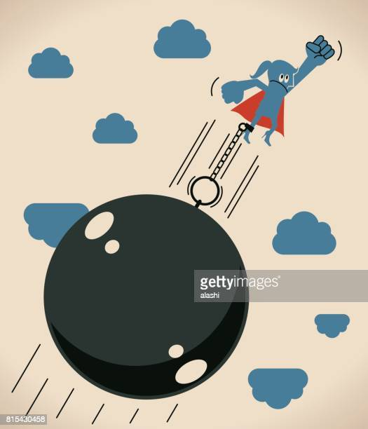 Super businesswoman (woman, hero) locked in a big iron ball and chain is flying