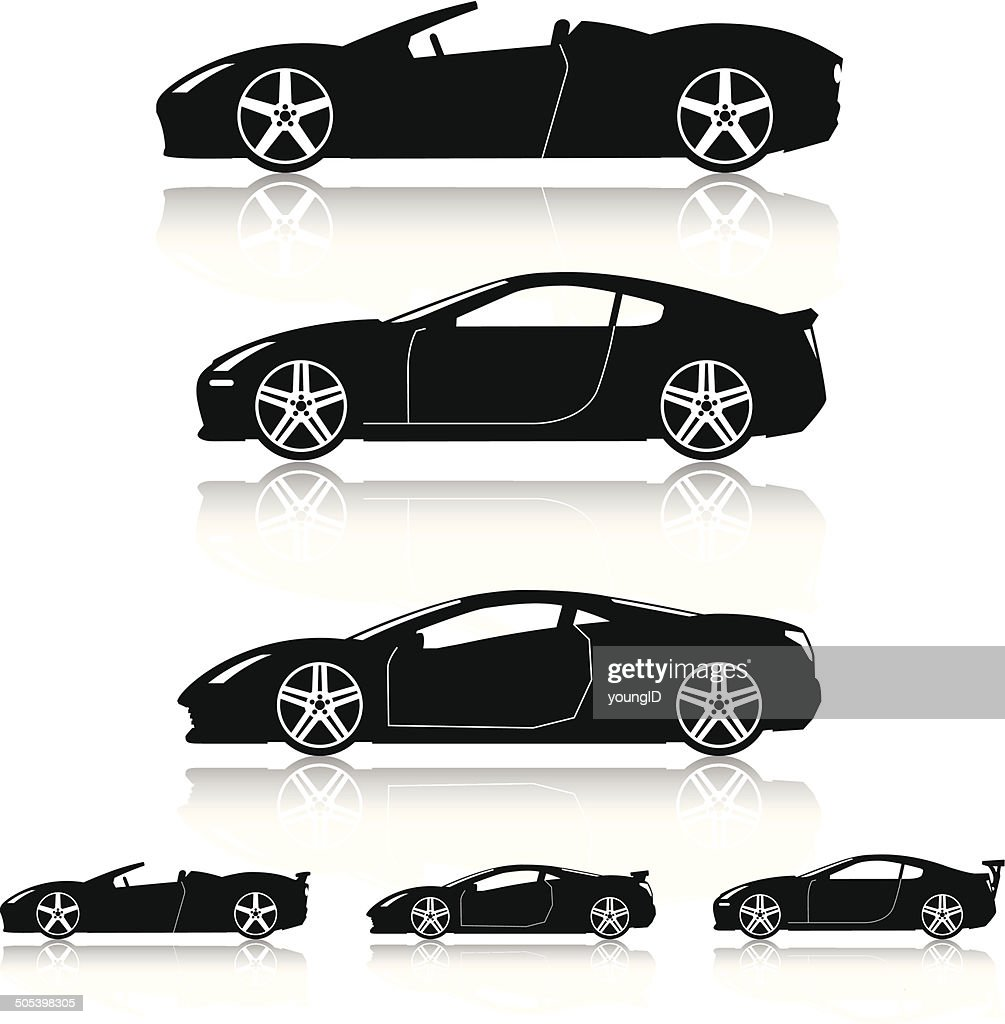 Super Cars Silhouettes : stock illustration