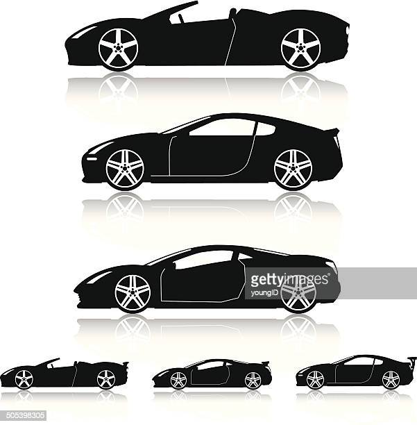 super cars silhouettes - race car stock illustrations, clip art, cartoons, & icons