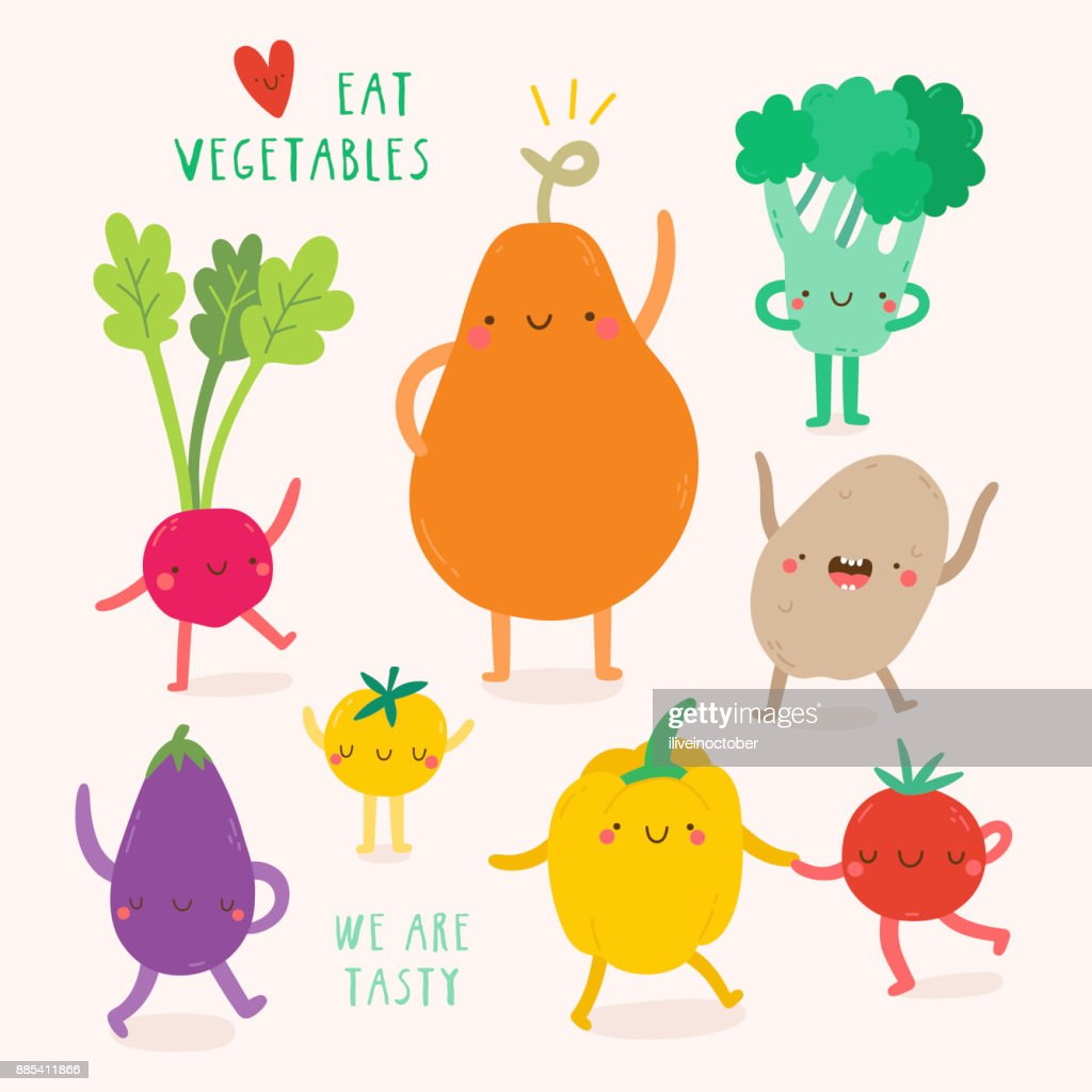 Super cute Vegetables characters.