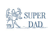 Super Dad Holding Kids Son And Daughter Doodle On White Background Happy Father Day Concept