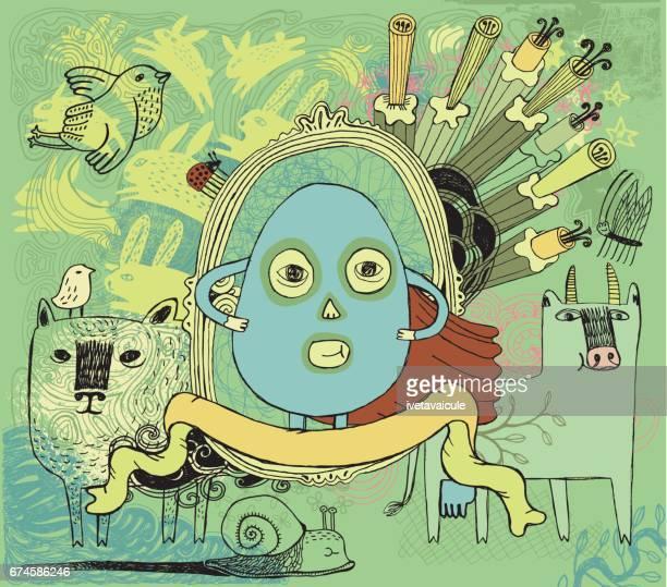 ilustrações, clipart, desenhos animados e ícones de super ovo, vaca, ovelha e outros amigos - animal egg
