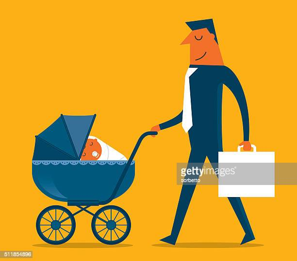 super father - baby carriage stock illustrations