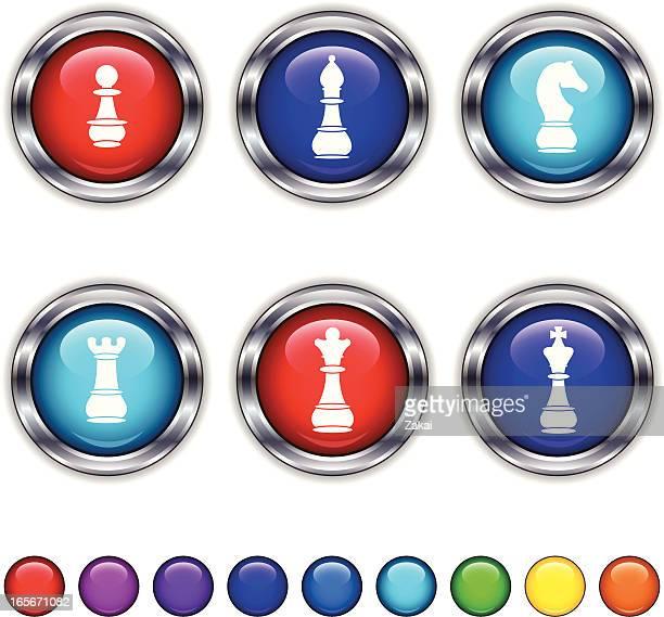 ilustraciones, imágenes clip art, dibujos animados e iconos de stock de super brillante de ajedrez botones con bastidor metálico piezas - torre pieza de ajedrez