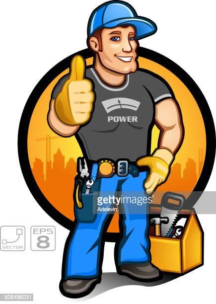 super handyman - plumber stock illustrations, clip art, cartoons, & icons
