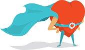 Super heart love hero wearing a cape