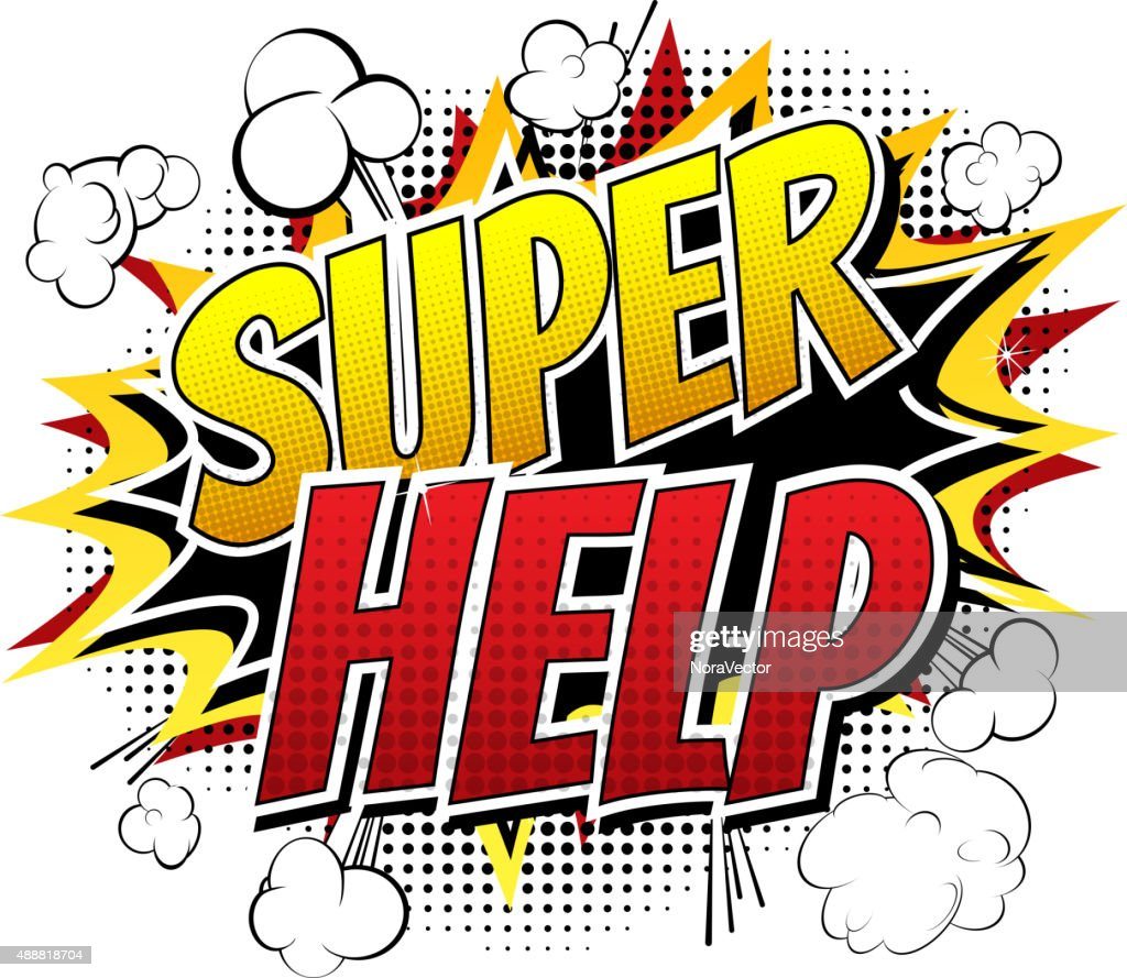 Super Help - Comic book style word.