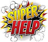 Super Help - Comic book style word.