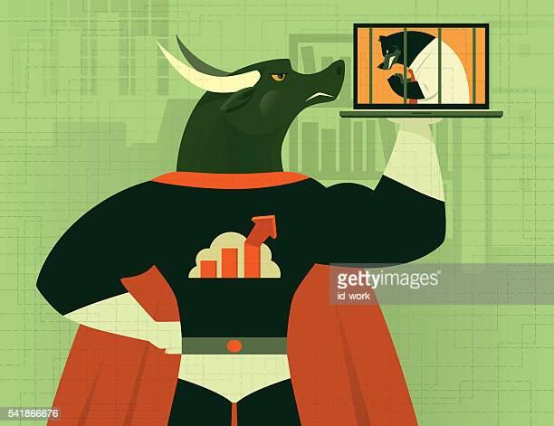 super hero bull - bull market stock illustrations, clip art, cartoons, & icons