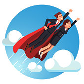 Super hero business man and woman flying fast. Flat vector clipart illustration