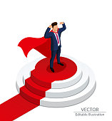 Super Hero Businessman stands on a round podium with a red carpet. Awarding Ceremony. Editable vector illustration on a white background.