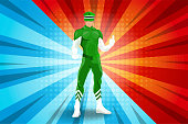 Super Hero character is Wearing green dress In a graceful gesture thumb up on a blue and red cartoon background. vector illustration.