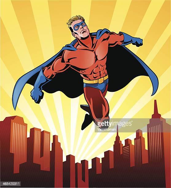illustrations, cliparts, dessins animés et icônes de super héros volant sur la ville - cartoon