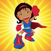 Super hero Girl. Editable Vector Illustration