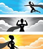 Super Hero Girl Silhouette Banner