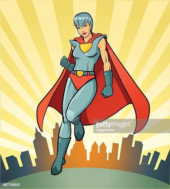 Super Hero - Heroine with Imagenary City Skyline