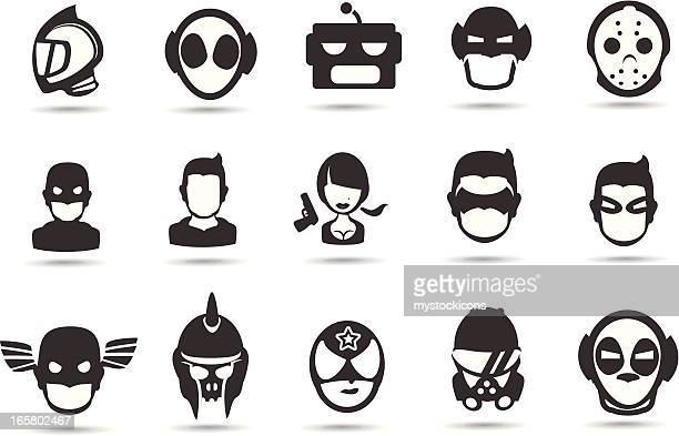 super hero mask icons - special forces stock illustrations, clip art, cartoons, & icons